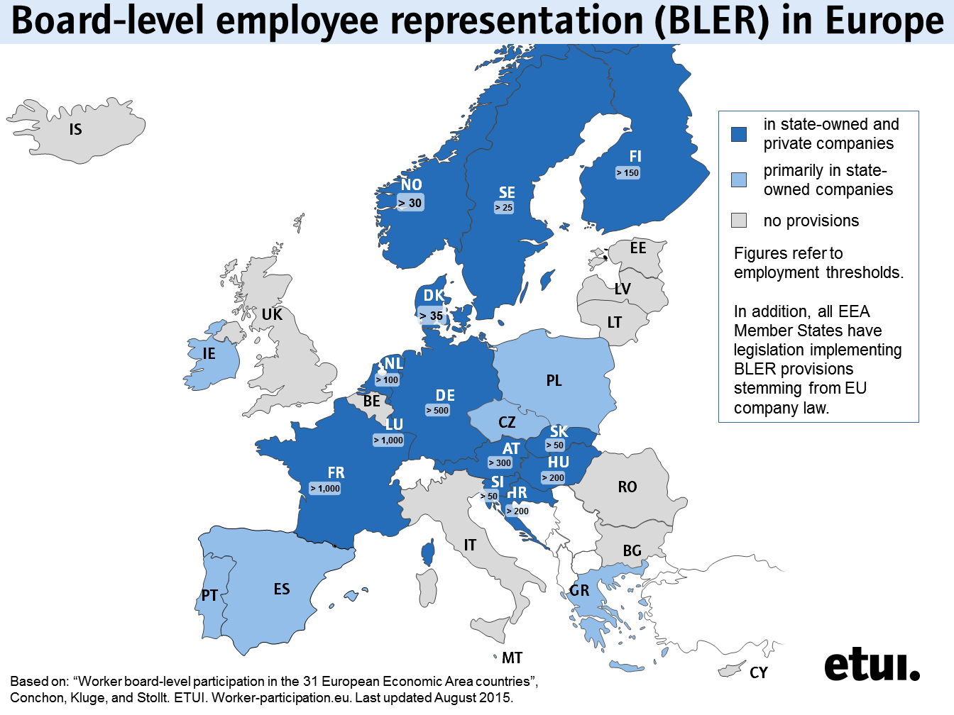 the etui has updated its map on board level employee representation in europe which now provides the latest state of affairs in europe and thresholds in